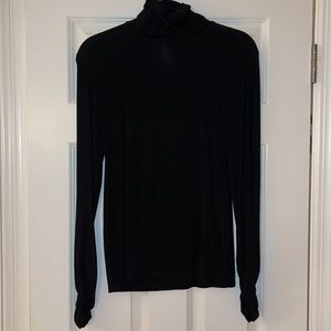CAbi black turtleneck with ruched sleeves Sz S